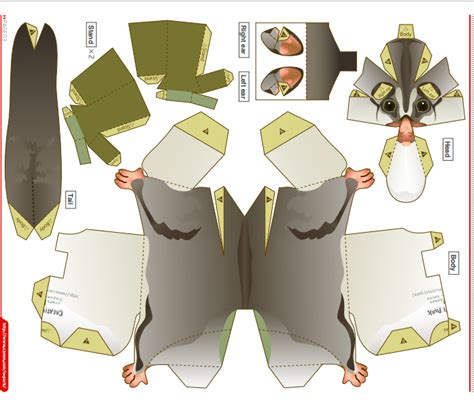 sugar glider template 3d paper crafts