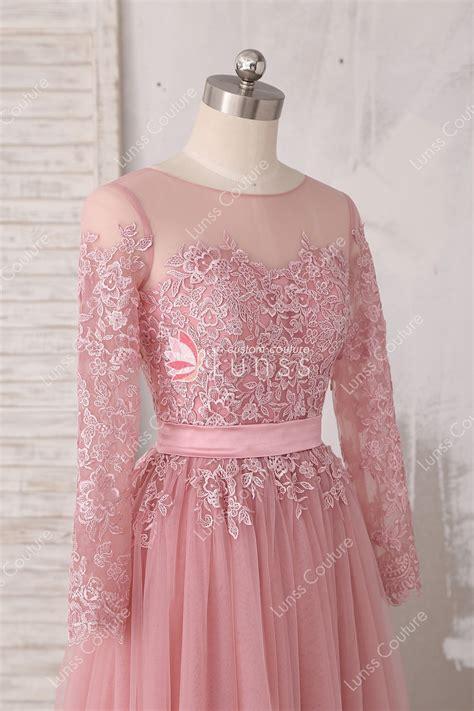 Elegant Lace Appliqued Dusty Pink Illusion Neckline A line
