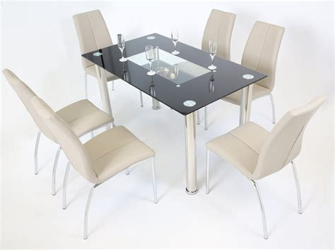 Black Glass Dining Table And Chairs Black Glass Dining Table And 6 Mink Grey Chairs Homegenies