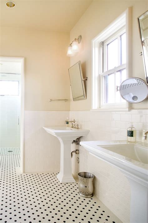 amazing Colors To Make Room Bigger #3: austin-beveled-subway-tile-white-with-chrome-bathroom-mirrors-traditional-and-pedestal-sink-wainscoting.jpg
