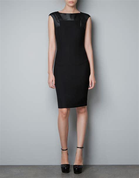 Dress Zara zara dress with faux leather appliqu 233 in black lyst