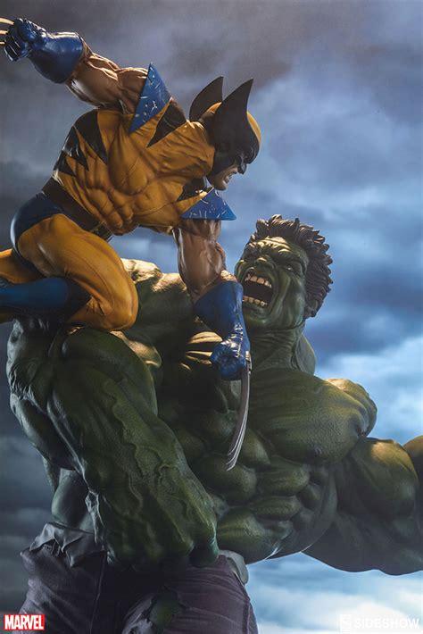 imagenes de hulk vs wolverine en real marvel hulk and wolverine maquette by sideshow