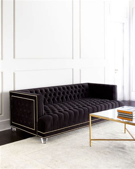 black velvet tufted sofa leather sectional velvet tufted leather sofas at neiman