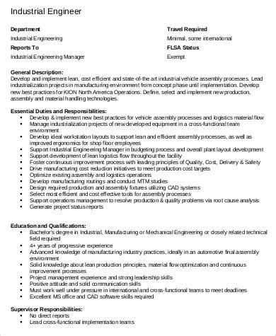 industrial design jobs definition industrial engineer job description sle 8 exles