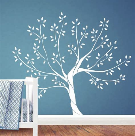 White Tree Wall Decal Nursery Wall Decal By Jesabi On Etsy White Tree Wall Decals For Nursery