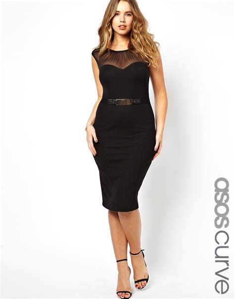 asos curve asos curve belted pencil dress with ruched