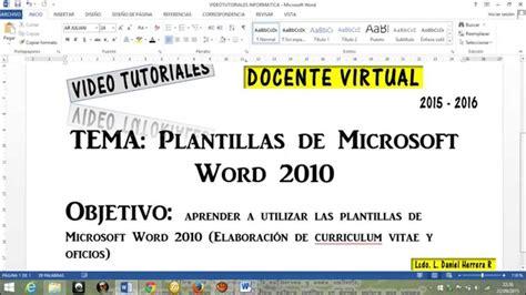 Plantilla De Curriculum Word 2010 Plantillas Word 2010 Curriculum Vitae Oficios