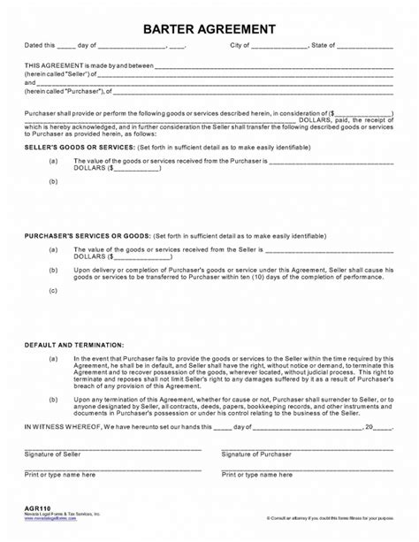 barter agreement template barter agreement nevada forms tax services inc