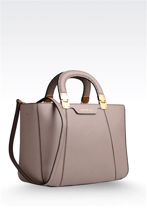 lyst emporio armani calfskin handbag with detachable shoulder in gray