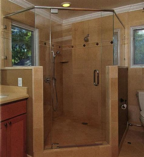 Shower With Half Wall And Glass Door E J Glass And Mirror Corporation