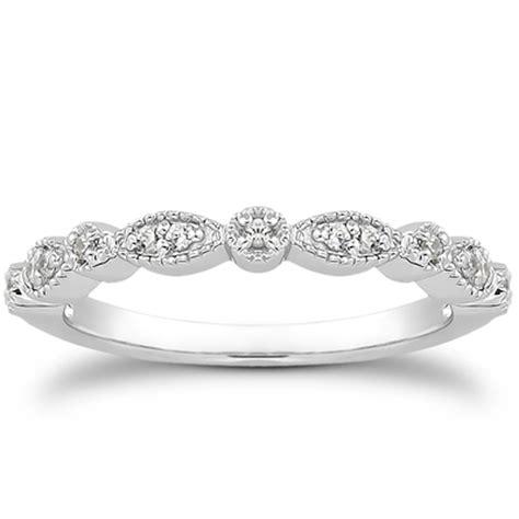 White Gold fancy pave milgrain wedding ring band in 14k white