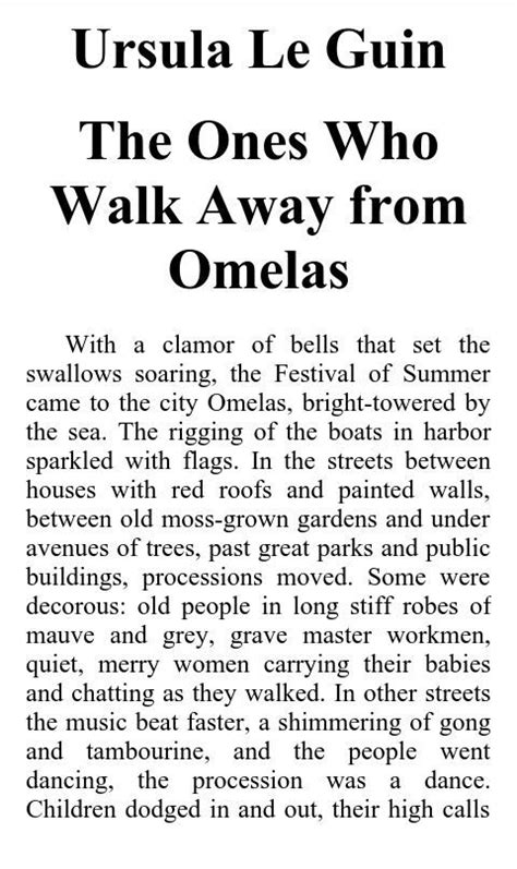 The Ones Who Walk Away From Omelas And Other Stories Omelas book the ones who walk away from omelas army s amino