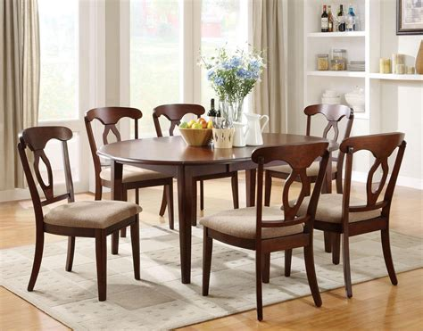 Cherry Kitchen Table Sets Liam Cherry Wood Dining Table Set Decobizz