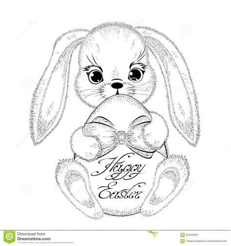 Kaos Bunny And Egg Basket Drawing easter rabbit with paschal egg stock vector
