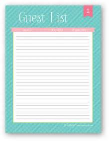 Baby Shower Guest List Template Guest List Sheet Submited Images