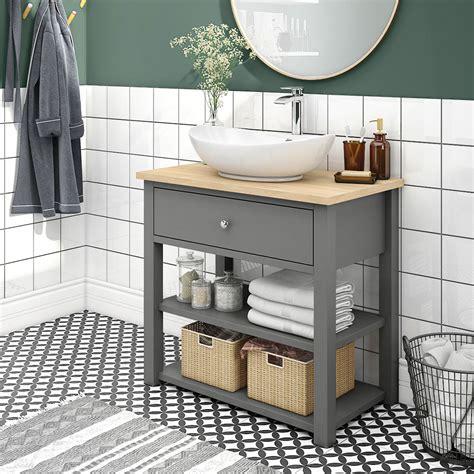 trafalgar mm grey countertop vanity unit  oval basin