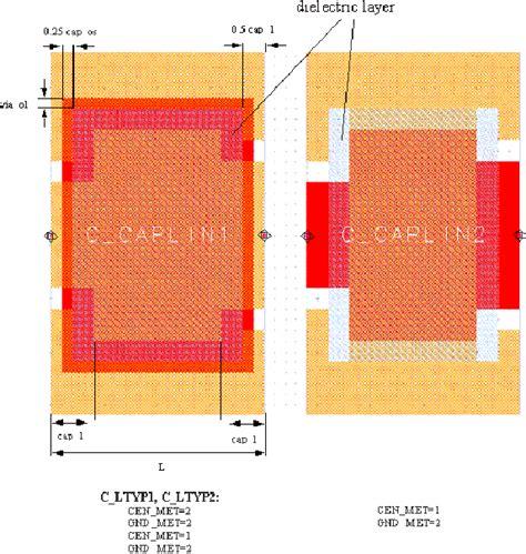 layout for capacitor 5 coplanar elements coplanar mim capacitor to ground c caplin