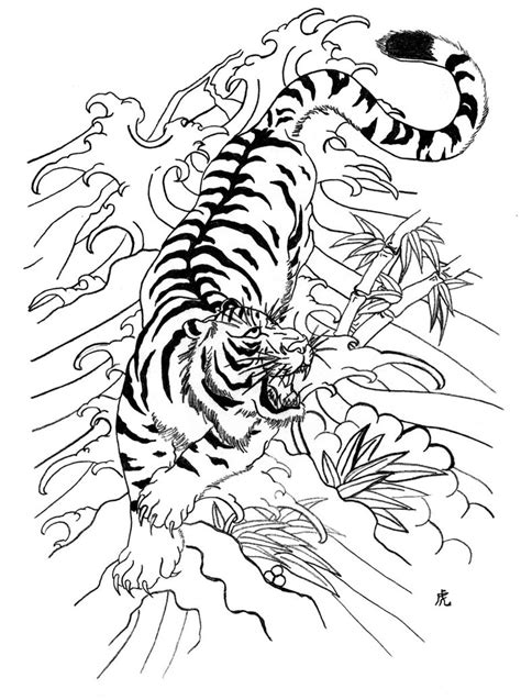 tiger tattoo outline designs white tiger colored wave tiger in the waves tiger