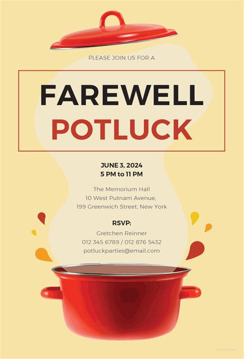 23 Farewell Invitation Template Free Sle Exle Format Download Free Premium Templates Potluck Invitation Template