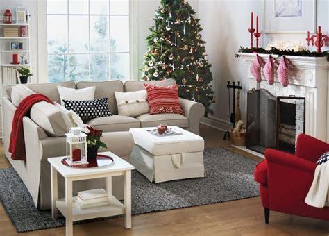 red  white christmas living room  ikea  beige