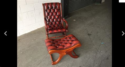 vintage chesterfield ox blood leather slipper chair