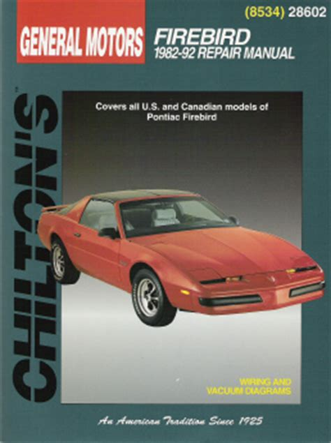 car repair manuals online free 1992 pontiac firebird parking system 1982 1992 pontiac firebird chilton s total car care manual