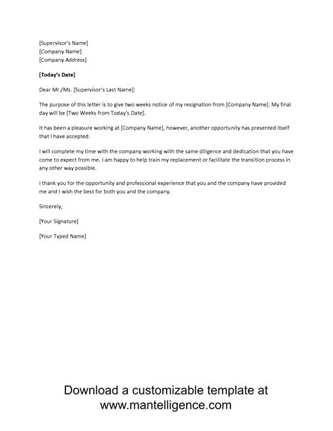 Formal Two Weeks Resignation Letter 3 highly professional two weeks notice letter templates