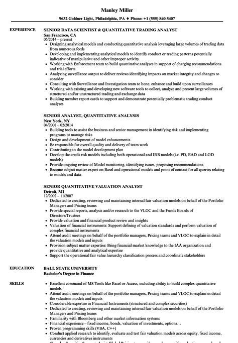 Quantitative Analyst Sle Resume by Analyst Senior Quantitative Analyst Resume Sles Velvet