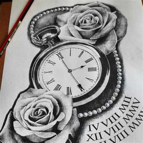 drawn pocket watch pencil drawing pencil and in color