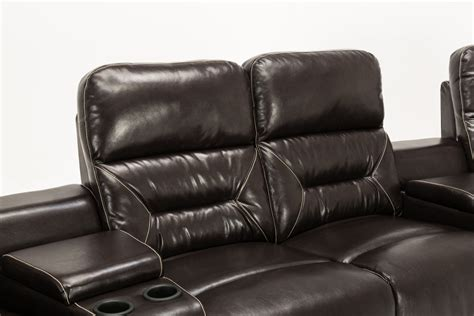 Recliner Loveseat With Cup Holder by Mcombo Brown Vibrating 4pc Home Theater Recliner Media