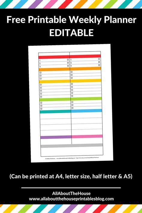 free editable printable weekly planner free printable weekly planner rainbow color coded