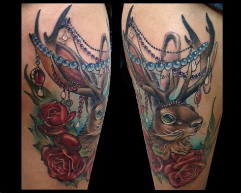 jackalope tattoo instagram jackalope tattoo with fancy beads by nakota garza tattoonow