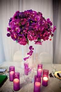 purple wedding centerpieces purple wedding centerpiece and candles wedding