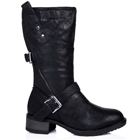 buy zipster flat buckle zip biker calf boots black leather