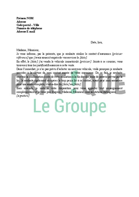 Exemple De Lettre Vente Auto Modele Lettre Resiliation Vente Vehicule Document