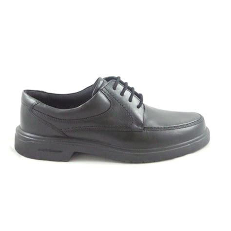mens black leather lace up casual shoe from