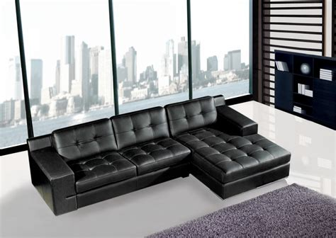 modern black leather sectional sofa