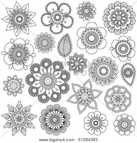 doodle flowers meaning vector collection doodle style vector photo bigstock