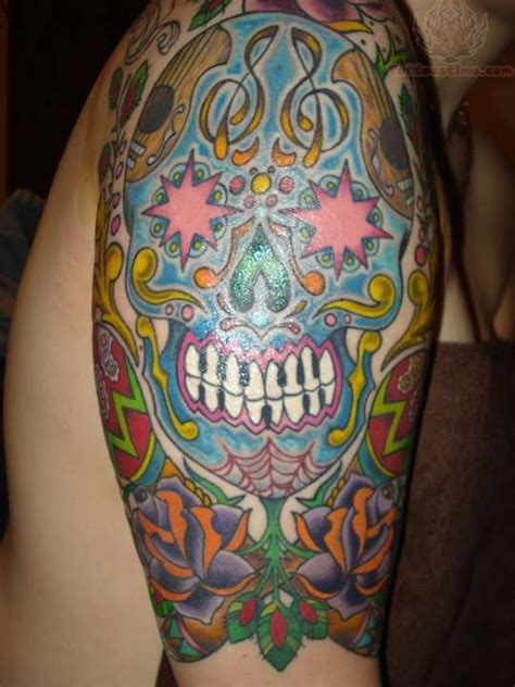 sugar skull sleeve tattoos half sleeve sugar skull
