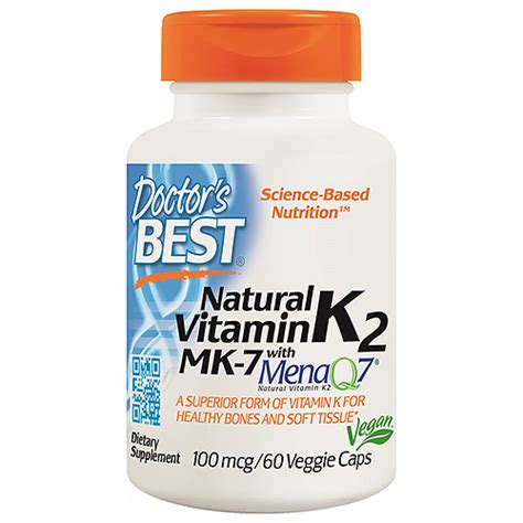 Doctor S Best Mk 7 Featuring Menaq7 Vitamin K2 100 Mcg 60 doctors best mk 7 featuring menaq7 vitamin k2 60 x 100mcg vegicapsuk supplier