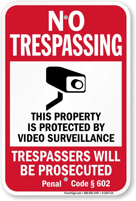 penal code section 602 california no trespassing signs