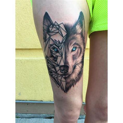 wolf tattoo half geometric 35 astonishing geometric wolf tattoos amazing tattoo ideas