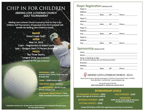 golf tournament registration template abiding parents association