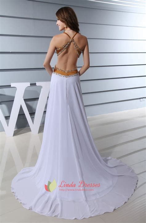 white open back halter dress open back prom dresses with sides slits cut out dress