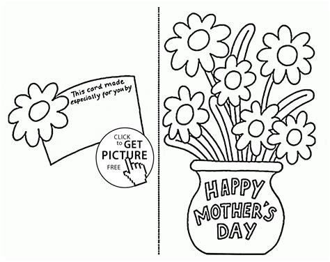 printable flowers mother s day card with flowers for mothers day coloring page for kids