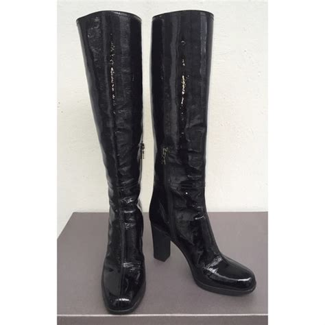 prada prada knee high black patent rubber heeled boots