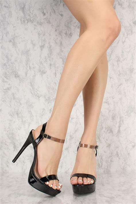 black high heels open toe black clear ankle open toe platform high heels