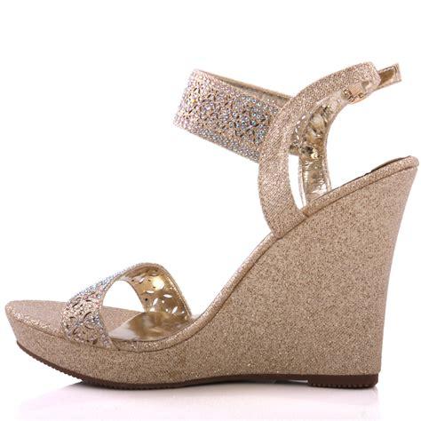 evening wedge sandals unze womens mergie wedge evening sandals uk size 3 8 gold