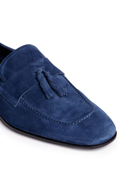 blue suede tassel loafers giorgio armani suede tassel loafers in blue for lyst