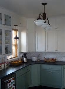 warehouse shades schoolhouse lights feature in kitchen